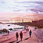 Evening promenade on the Venice waterfront by Hugh Cross