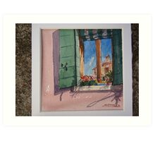 Venetian morning - window on the canal Art Print