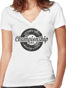 Championship Vinyl (worn look) Women's Fitted V-Neck T-Shirt