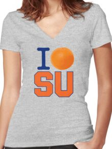 I Heart ( LOVE ) SU - Orangemen Women's Fitted V-Neck T-Shirt