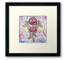 "Watercolor sketch Dreamcatcher ""Chase your Dreams"" quote Framed Print"