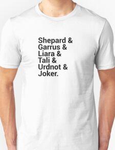 Mass Effect Character Names Unisex T-Shirt