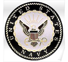 Black and White Embossed Navy Crest Poster
