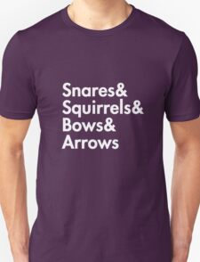 Snares& squirrels& bows& arrows....(WHITE FONT SHIRT) T-Shirt