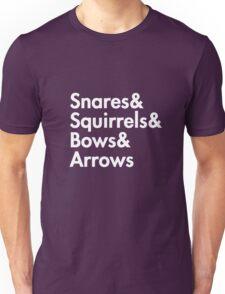 Snares& squirrels& bows& arrows....(WHITE FONT SHIRT) Unisex T-Shirt