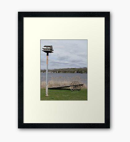 Bird House & Wagon Framed Print
