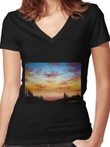 Sky Paradise Women's Fitted V-Neck T-Shirt