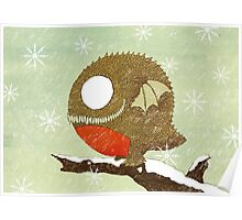 Winter Red Belly Robin Dragon  Poster