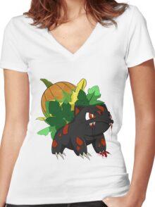 Pumpkin Ivysaur Women's Fitted V-Neck T-Shirt