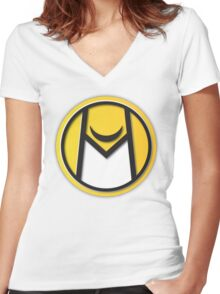 Moonhawk410 // LOGO YELLOW Women's Fitted V-Neck T-Shirt
