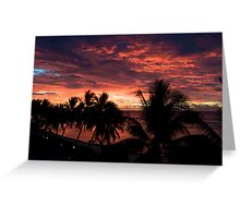 Silhouette Cook Island sunset Greeting Card