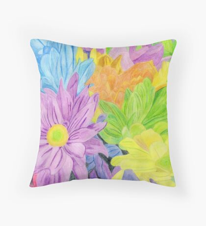 Brightly Coloured Flowers Throw Pillow