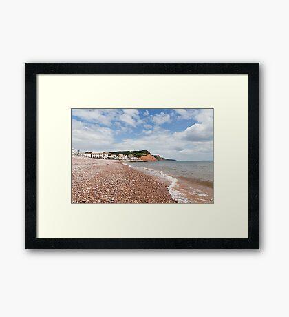 Sea, sky, shingle and Sidmouth Framed Print