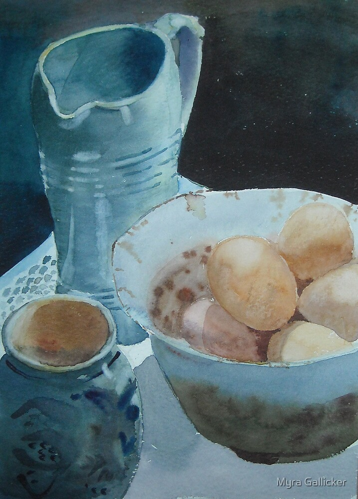 Eggs and Pots by Myra Gallicker