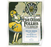 "FIVE O'CLOCK FOLLIES ""Dear Old Brighton"" (vintage illustration) Poster"