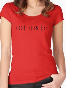 Bash Fork Bomb - Black Text for Unix/Linux Hackers Women's Fitted Scoop T-Shirt