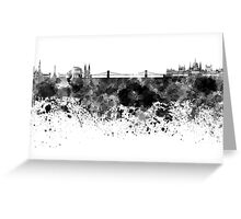 Budapest skyline in black watercolor Greeting Card