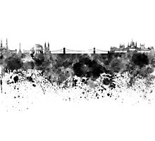 Budapest skyline in black watercolor Photographic Print
