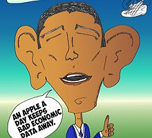 Binary Options News Cartoon President Obama and Apple by Binary-Options
