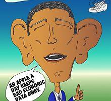 Binary Options News Cartoon President Obama and Apple by Binary-Options