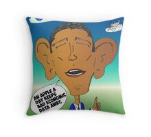 Binary Options News Cartoon President Obama and Apple Throw Pillow