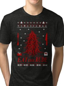 eat the rude - antlers tree - ugly christmas sweater Tri-blend T-Shirt