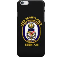 USS Maryland (SSBN-738) Crest for Dark Colors iPhone Case/Skin