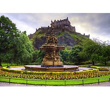 Fountain and Castle Photographic Print