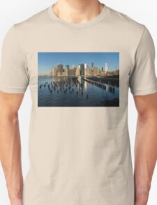 Luminous Blue, Silver and Gold - Manhattan Skyline and East River T-Shirt