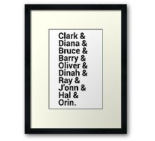 Justice League Names Framed Print