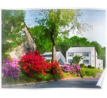 Suburban Azalea Garden Poster