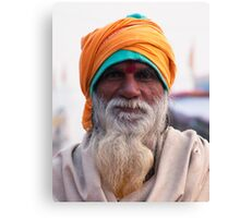 Yellow Turban, Green Knit Canvas Print