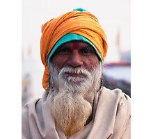 Yellow Turban, Green Knit Photographic Print