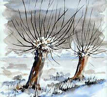 WINTER IN THE DUTCH POLDER - AQUAREL by RainbowArt