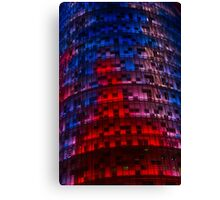 Bright Blue, Red and Pink Illumination - Agbar Tower, Barcelona, Catalonia, Spain Canvas Print
