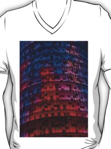 Bright Blue, Red and Pink Illumination - Agbar Tower, Barcelona, Catalonia, Spain T-Shirt