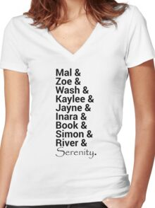 Firefly (Serenity) Names Women's Fitted V-Neck T-Shirt