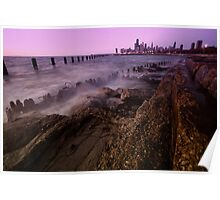 Chicago lakefront dawn time exposure Poster
