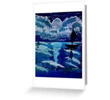 Moonlight sail,,, watercolor Greeting Card