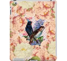 Vintage pink white floral cute birds pattern iPad Case/Skin