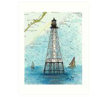 Alligator Reef Lighthouse FL Nautical Chart Peek Art Print