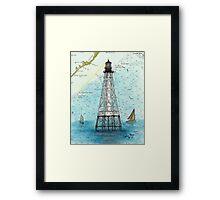 Alligator Reef Lighthouse FL Nautical Chart Peek Framed Print