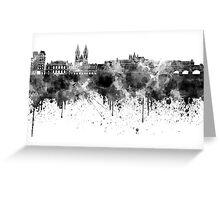 Prague skyline in black watercolor Greeting Card