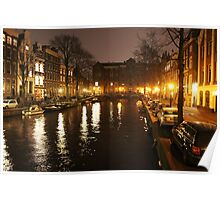 The Amsterdam Canals at Night Poster