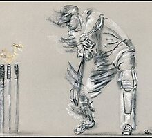 Bowled - cricket batting sketch by Paulette Farrell