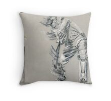 Bowled - cricket batting sketch Throw Pillow