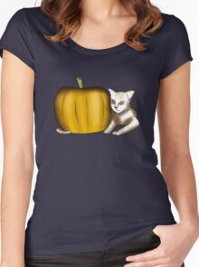 Cat and Pumpkin Women's Fitted Scoop T-Shirt