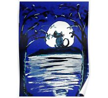 Yowling in the light of the Moon,,  watercolor Poster