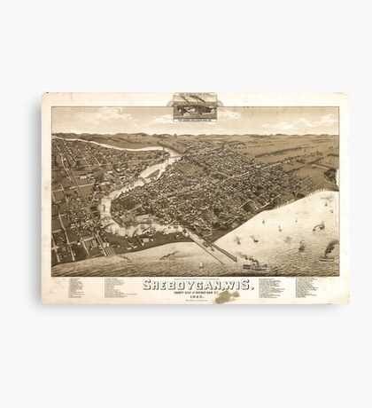 Panoramic Maps View of the city of Oconomowoc Wis Waukesha County 1885 Canvas Print