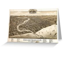 Panoramic Maps View of the city of Oconomowoc Wis Waukesha County 1885 Greeting Card